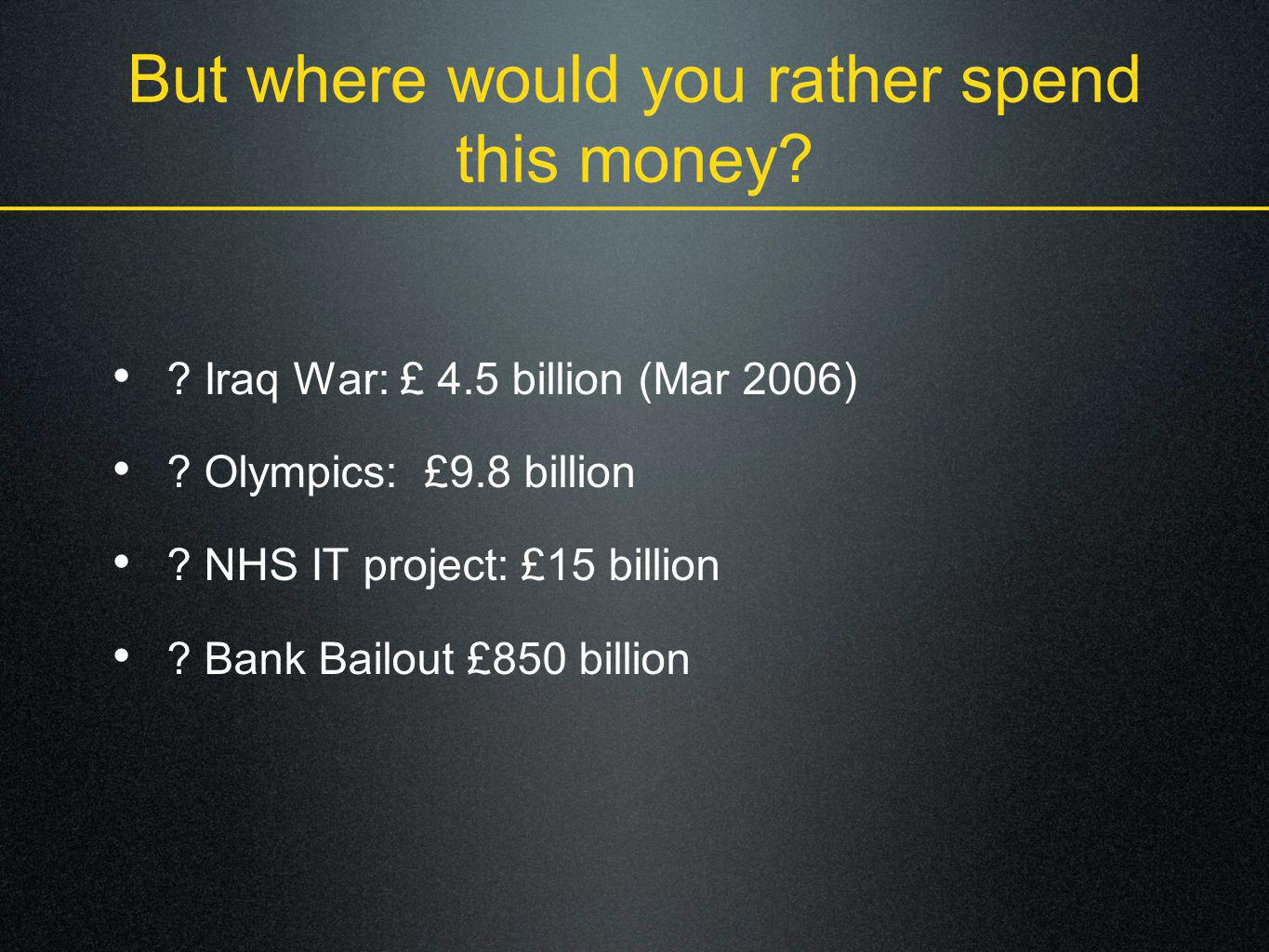 But where would you rather spend this money
