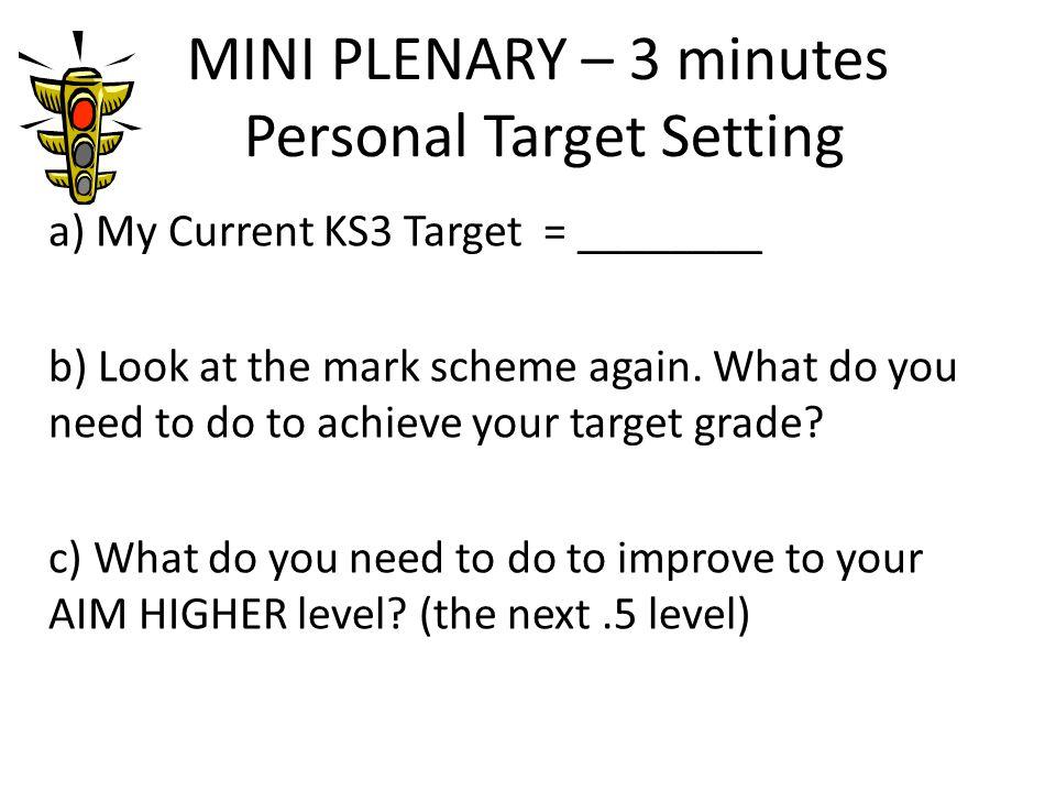 MINI PLENARY – 3 minutes Personal Target Setting