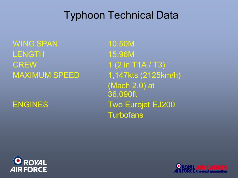 Typhoon Technical Data