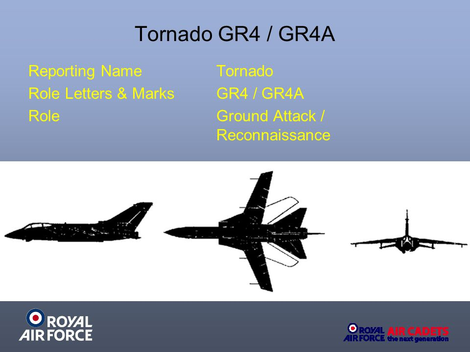Tornado GR4 / GR4A Reporting Name Tornado Role Letters & Marks GR4 / GR4A Role Ground Attack / Reconnaissance