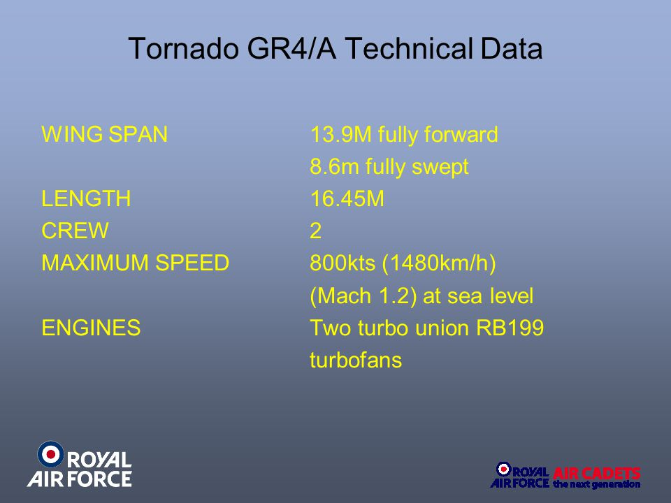 Tornado GR4/A Technical Data