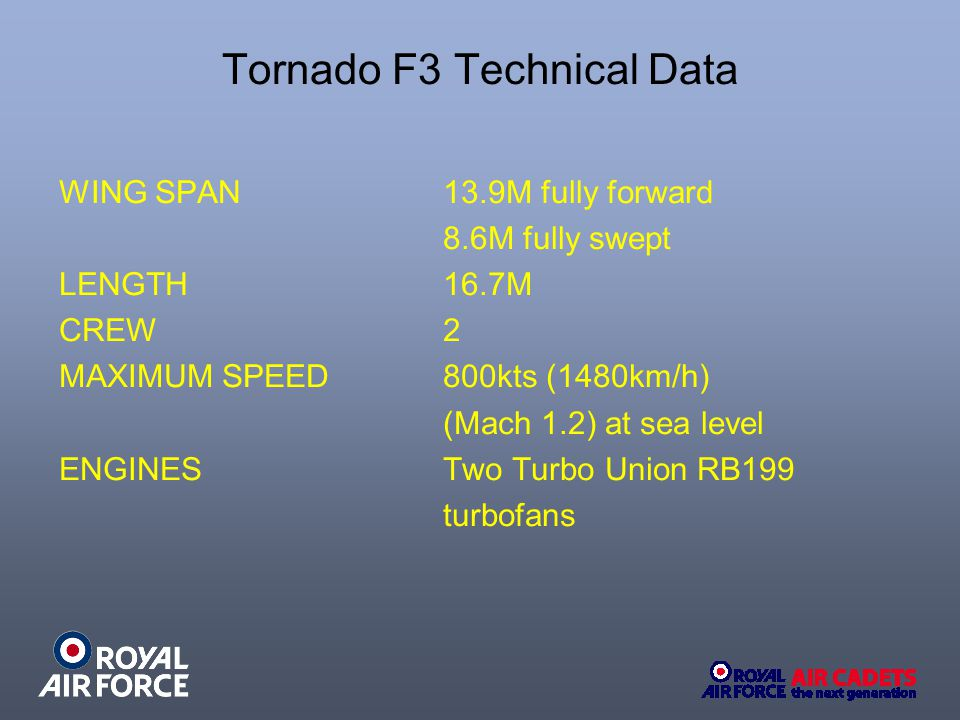 Tornado F3 Technical Data