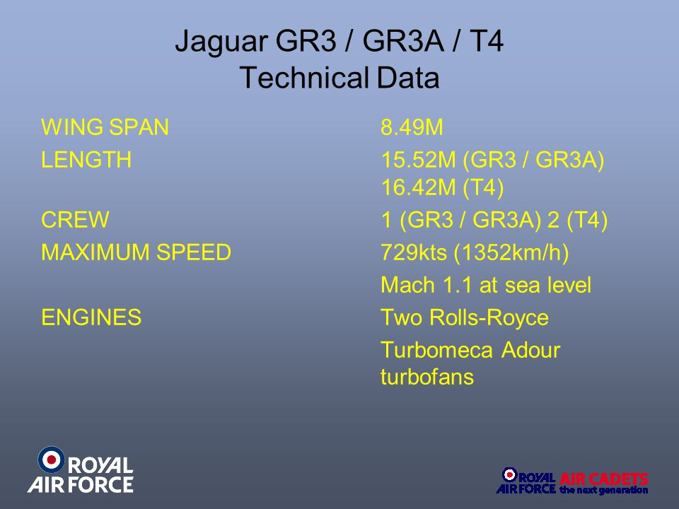 Jaguar GR3 / GR3A / T4 Technical Data