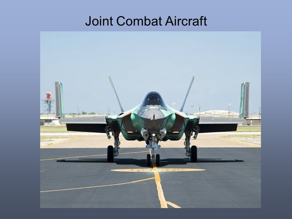 Joint Combat Aircraft Note folding wings of the Carrier Variant