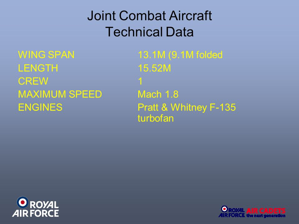 Joint Combat Aircraft Technical Data