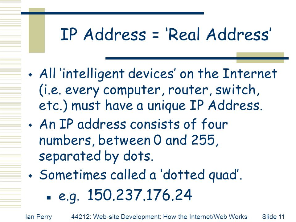 IP Address = 'Real Address'