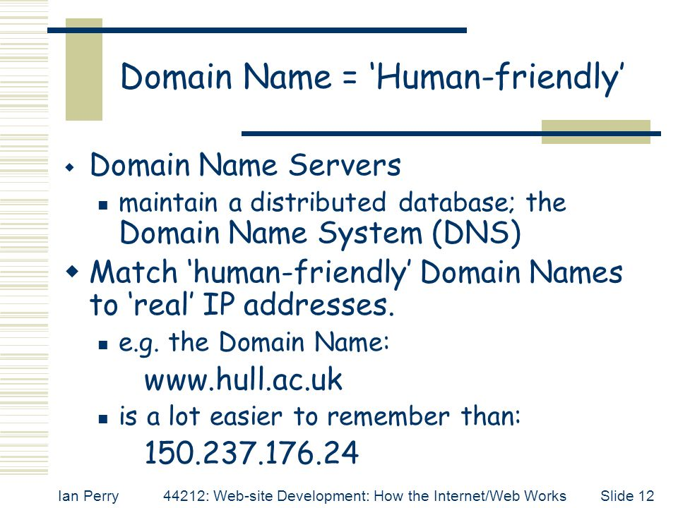 Domain Name = 'Human-friendly'
