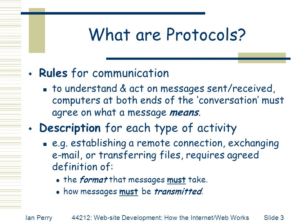 What are Protocols Rules for communication