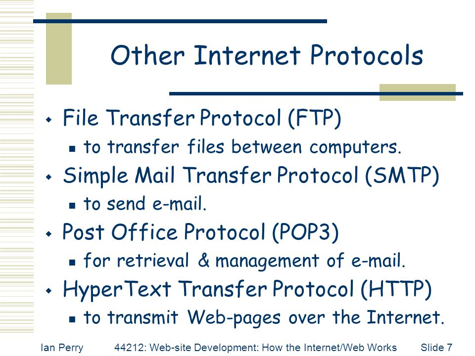 Other Internet Protocols