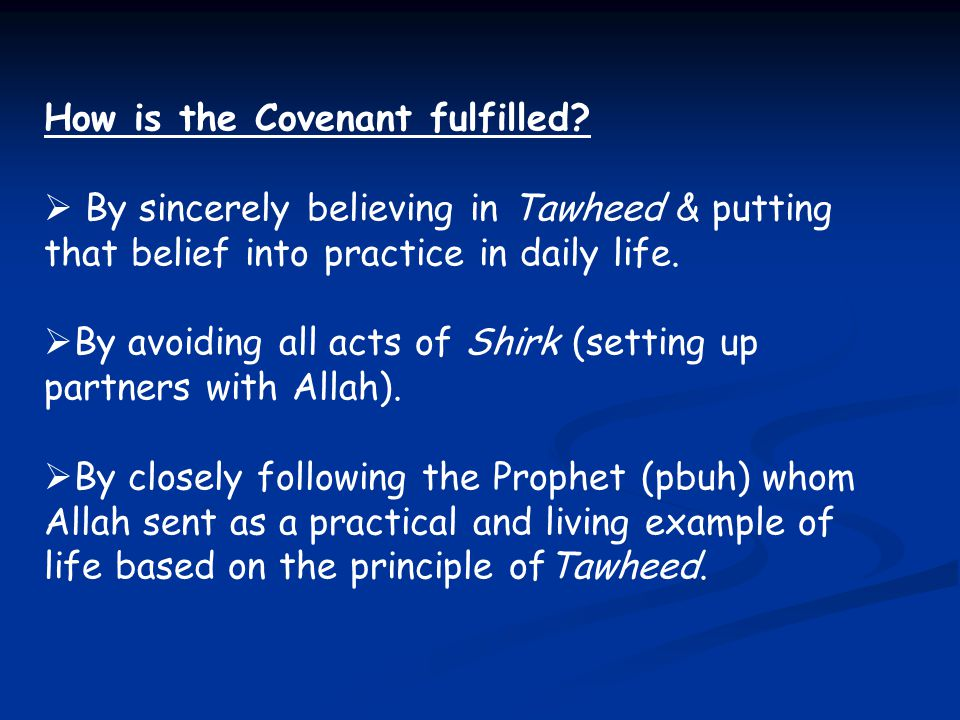 How is the Covenant fulfilled