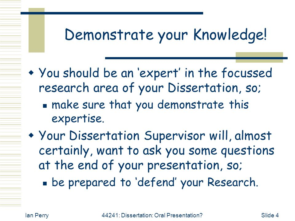 Demonstrate your Knowledge!