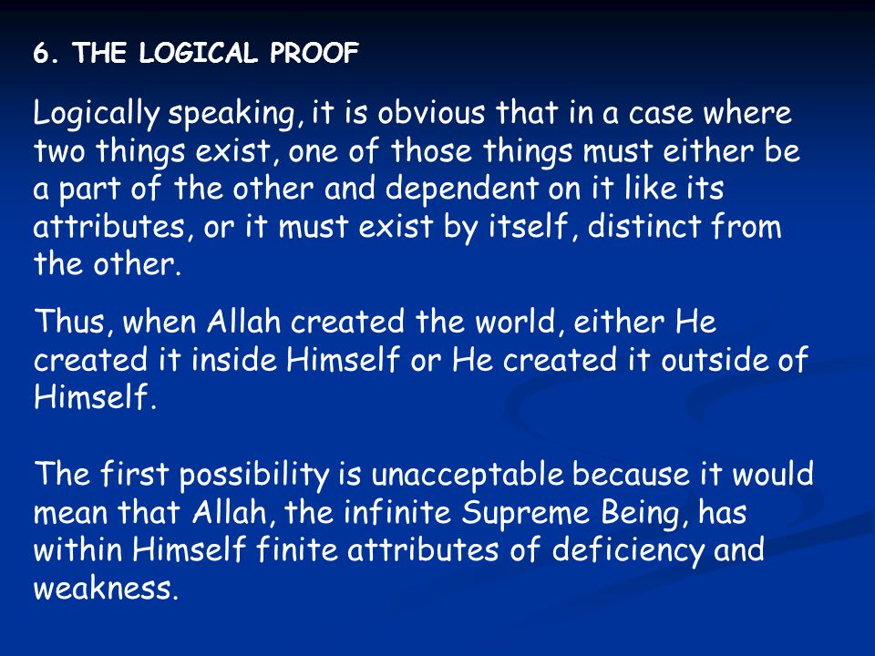 6. THE LOGICAL PROOF