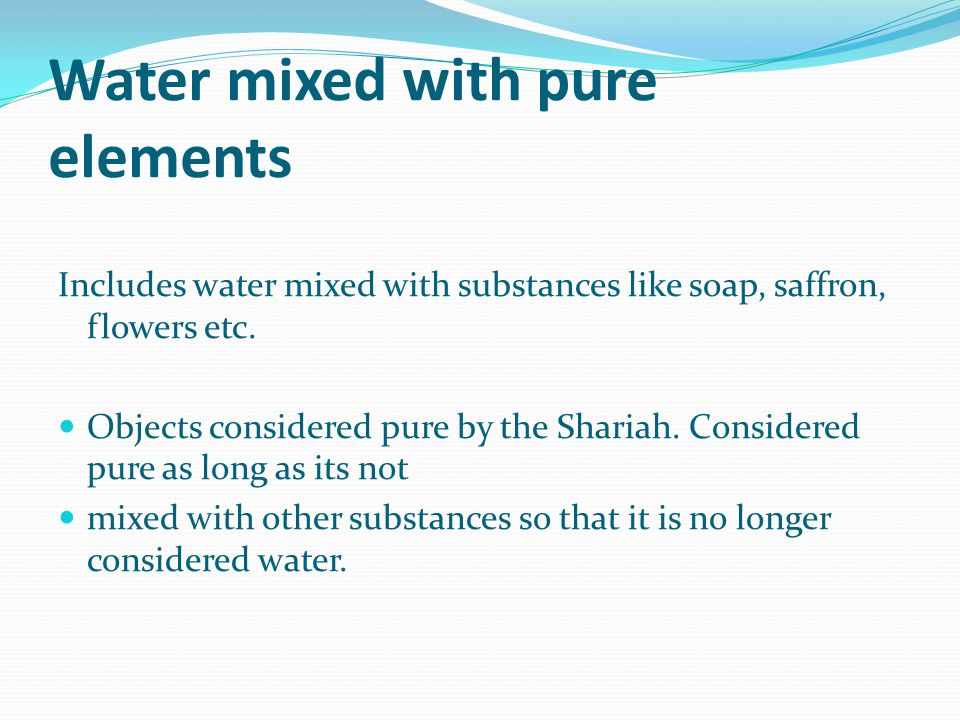 Water mixed with pure elements