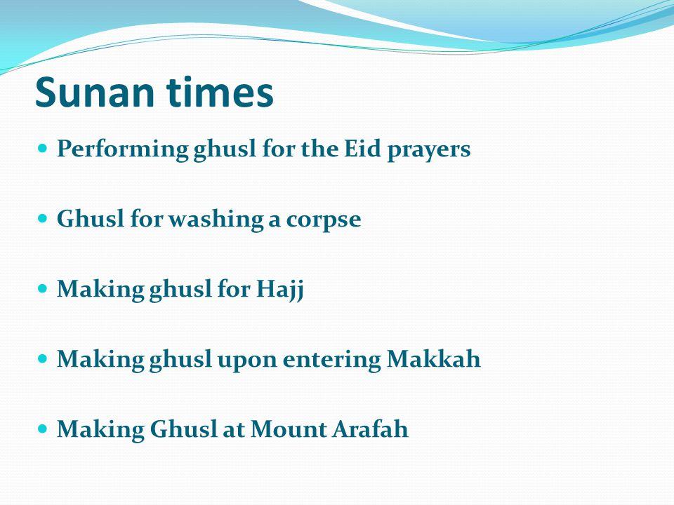 Sunan times Performing ghusl for the Eid prayers