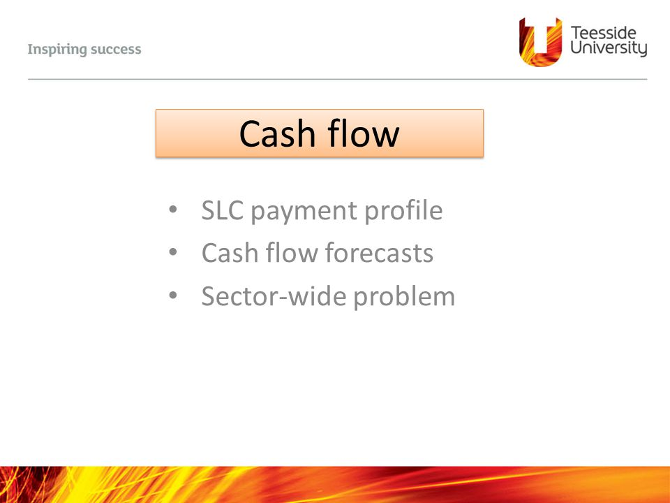 SLC payment profile Cash flow forecasts Sector-wide problem