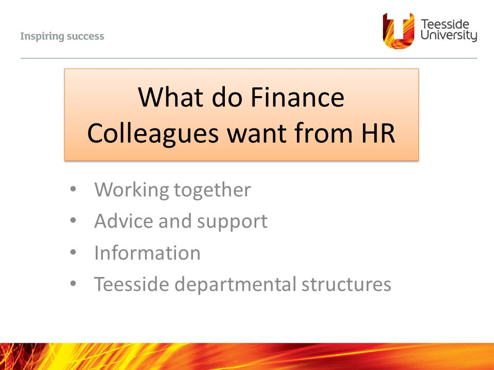 What do Finance Colleagues want from HR