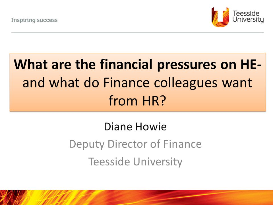 Diane Howie Deputy Director of Finance Teesside University