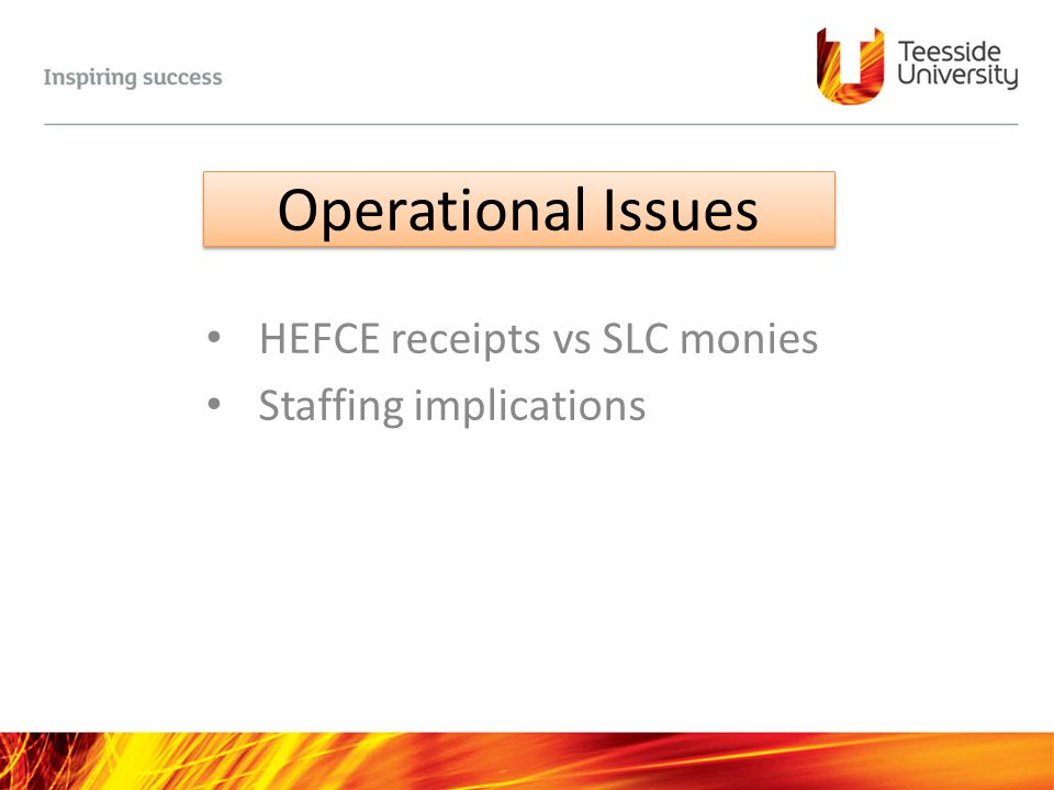 HEFCE receipts vs SLC monies Staffing implications
