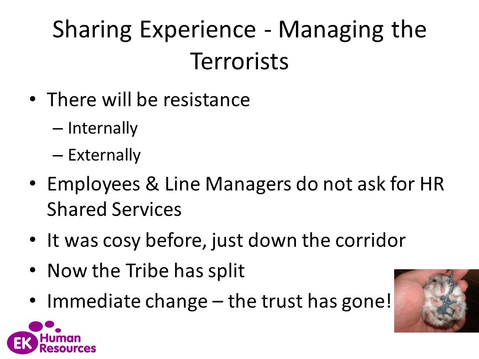 Sharing Experience - Managing the Terrorists