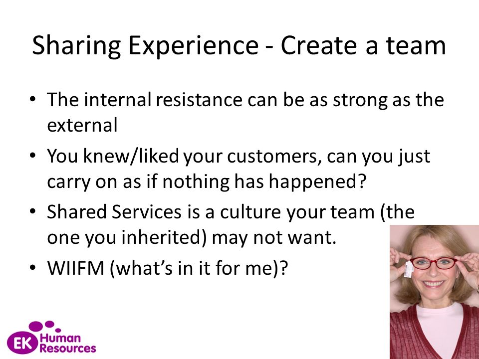 Sharing Experience - Create a team