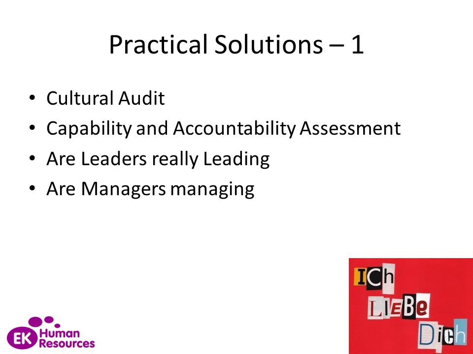 Practical Solutions – 1 Cultural Audit