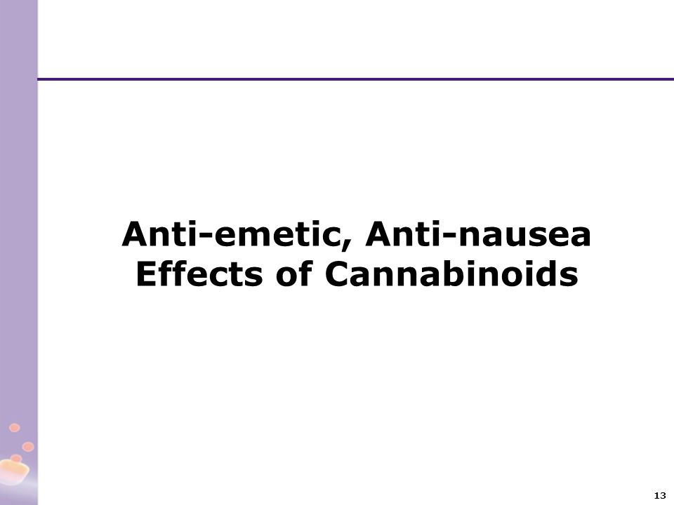 Anti-emetic, Anti-nausea Effects of Cannabinoids