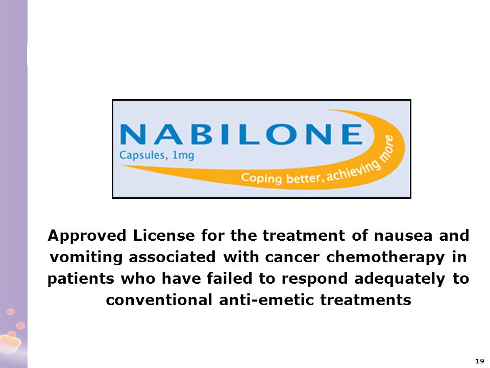 Approved License for the treatment of nausea and vomiting associated with cancer chemotherapy in patients who have failed to respond adequately to conventional anti-emetic treatments