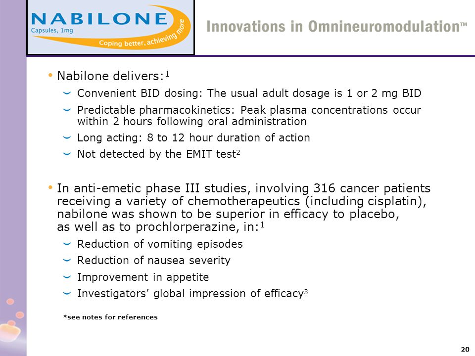 Nabilone delivers:1 Convenient BID dosing: The usual adult dosage is 1 or 2 mg BID.
