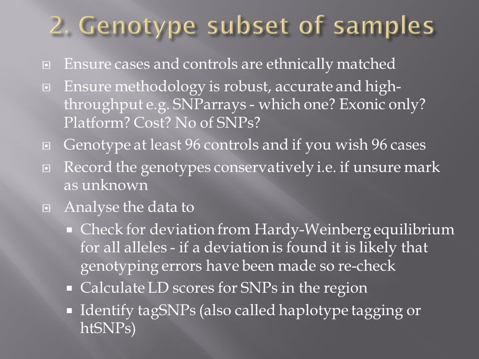 2. Genotype subset of samples