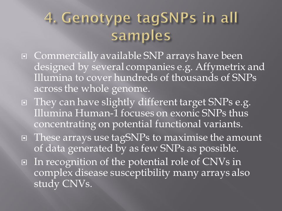 4. Genotype tagSNPs in all samples