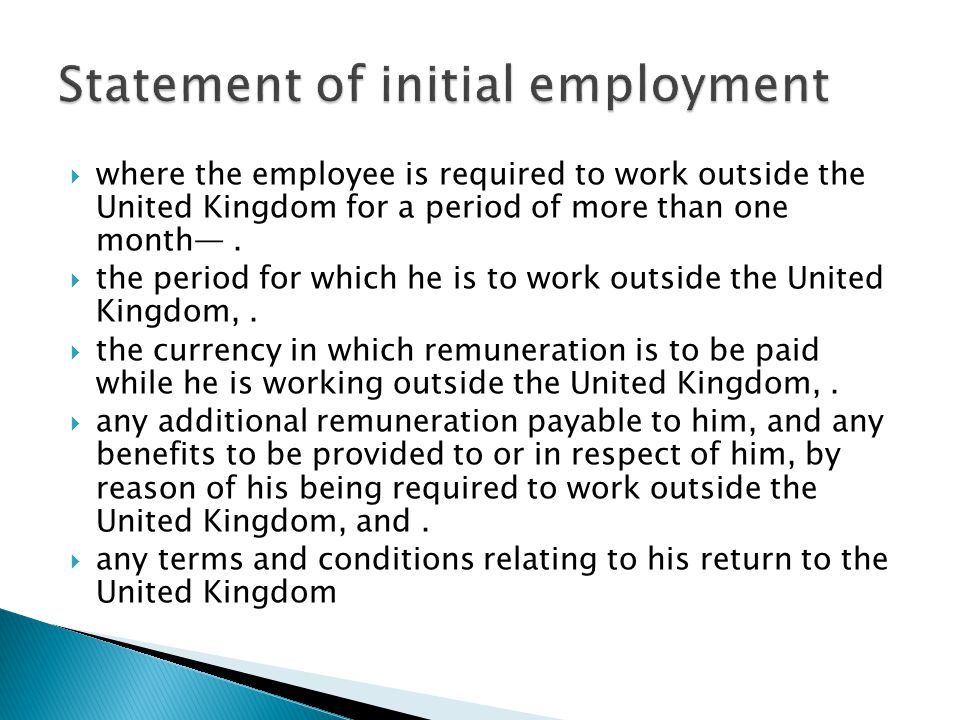 Statement of initial employment ppt video online download for Statement of terms and conditions of employment template