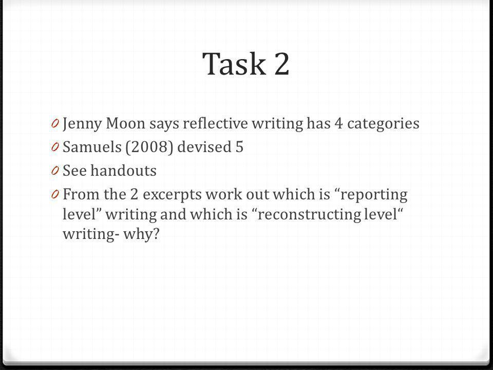 Task 2 Jenny Moon says reflective writing has 4 categories