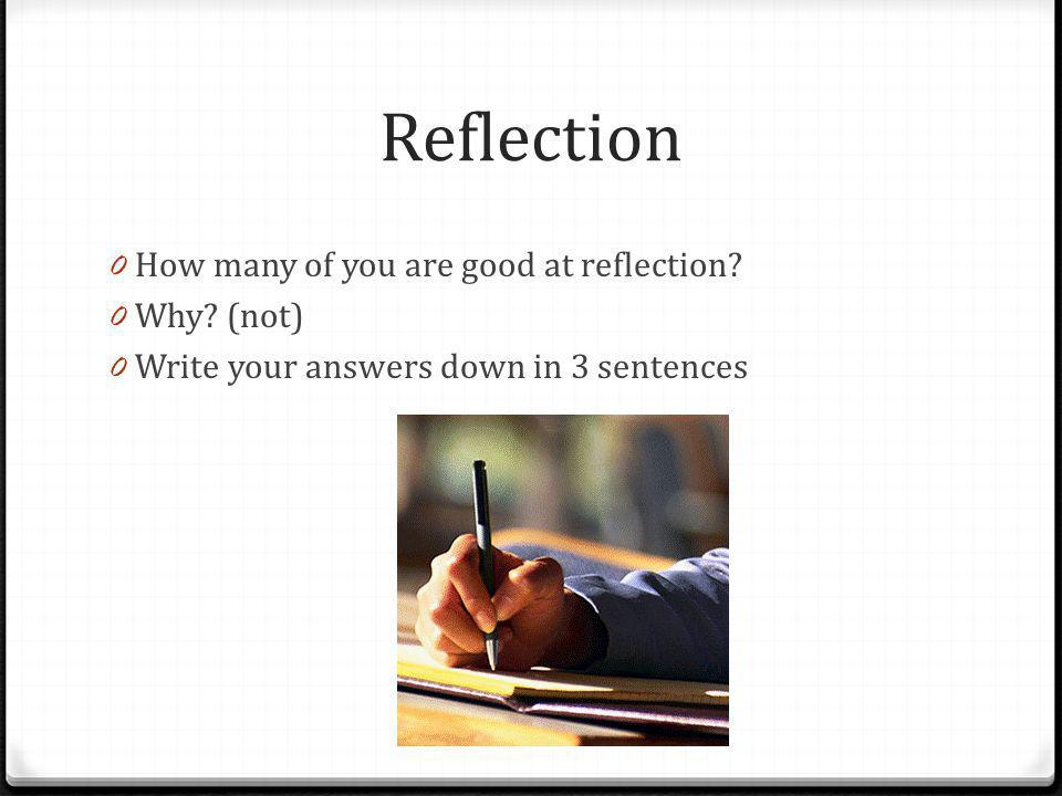 Reflection How many of you are good at reflection Why (not)