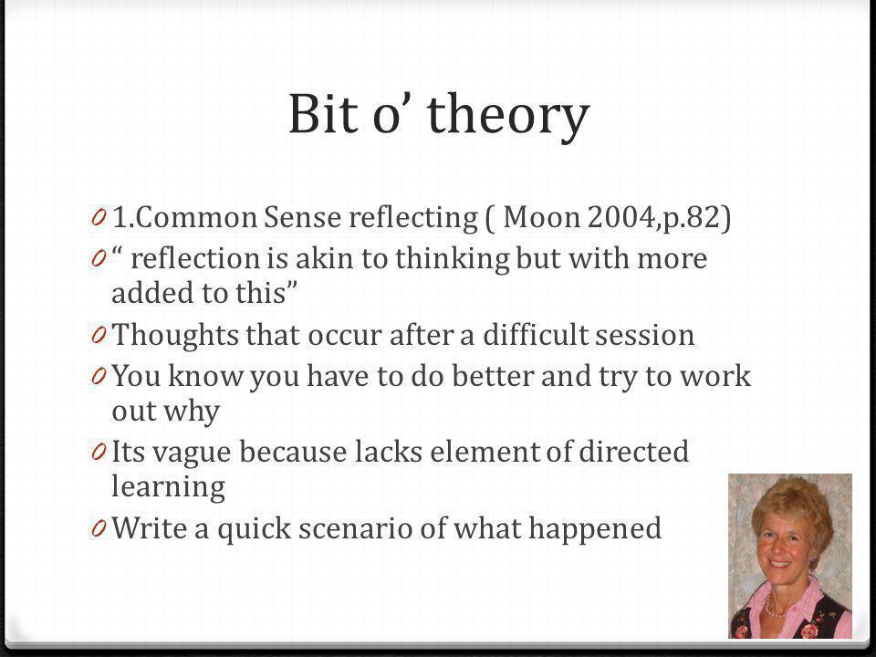 Bit o' theory 1.Common Sense reflecting ( Moon 2004,p.82)
