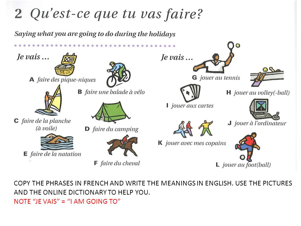 COPY THE PHRASES IN FRENCH AND WRITE THE MEANINGS IN ENGLISH