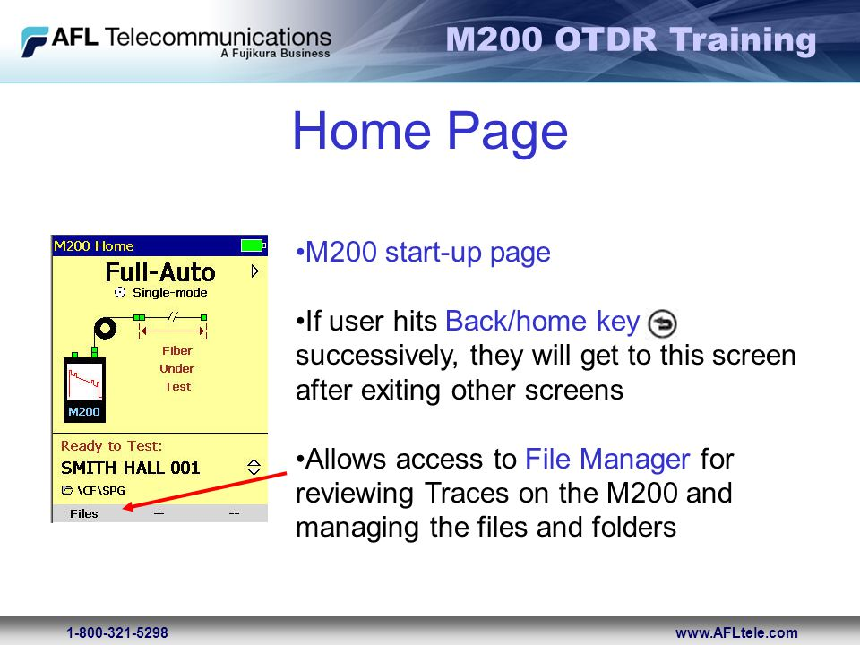 Home Page M200 start-up page