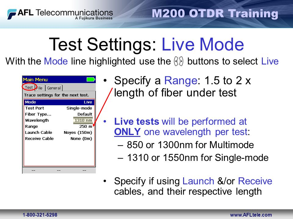 Test Settings: Live Mode