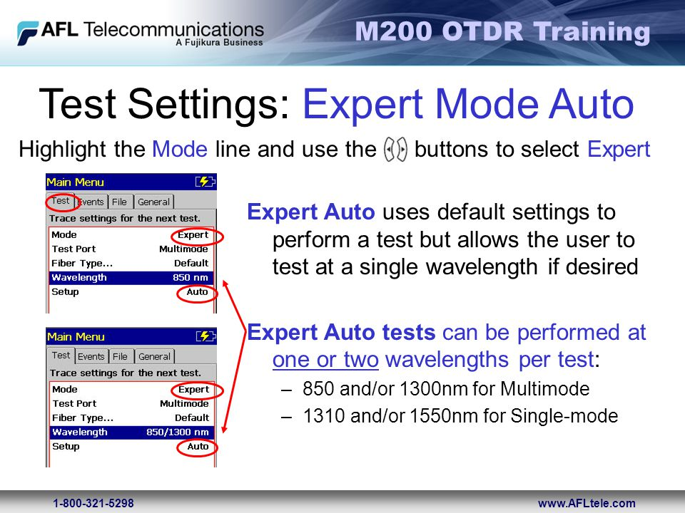Test Settings: Expert Mode Auto