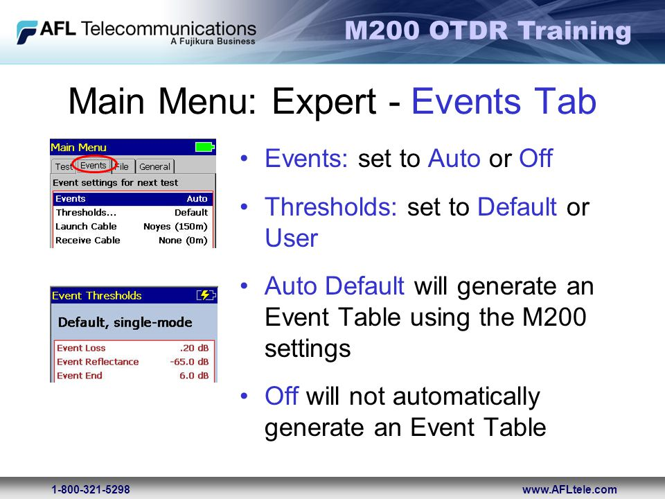 Main Menu: Expert - Events Tab