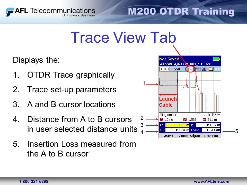Trace View Tab Displays the: OTDR Trace graphically