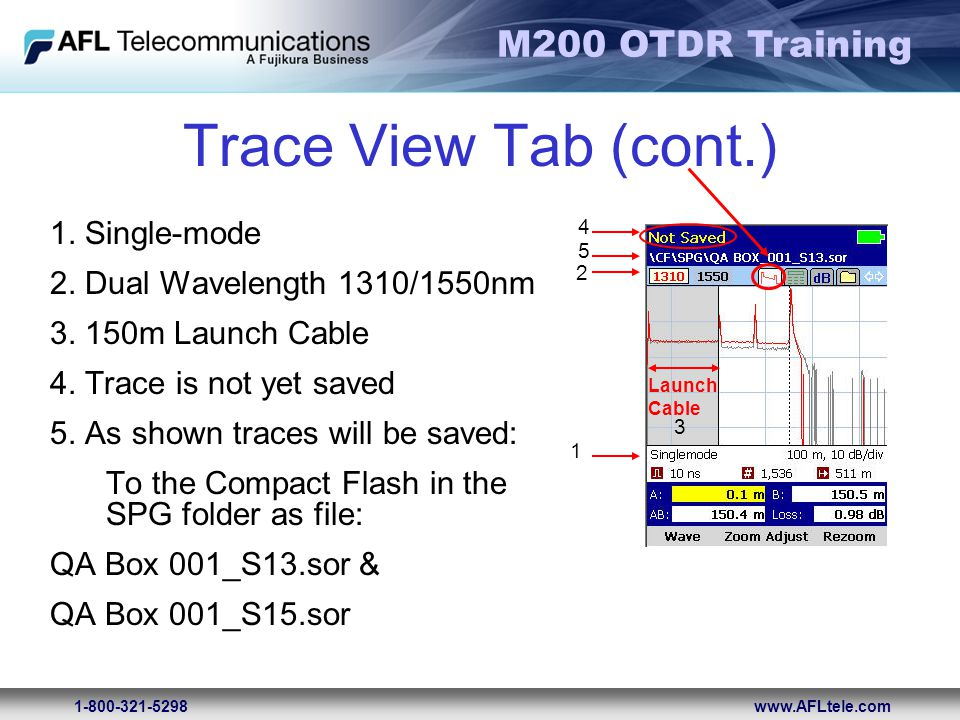 Trace View Tab (cont.) 1. Single-mode 2. Dual Wavelength 1310/1550nm