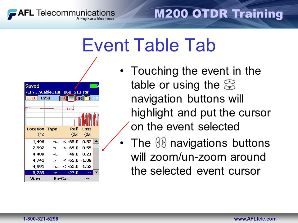 Event Table Tab Touching the event in the table or using the navigation buttons will highlight and put the cursor on the event selected.
