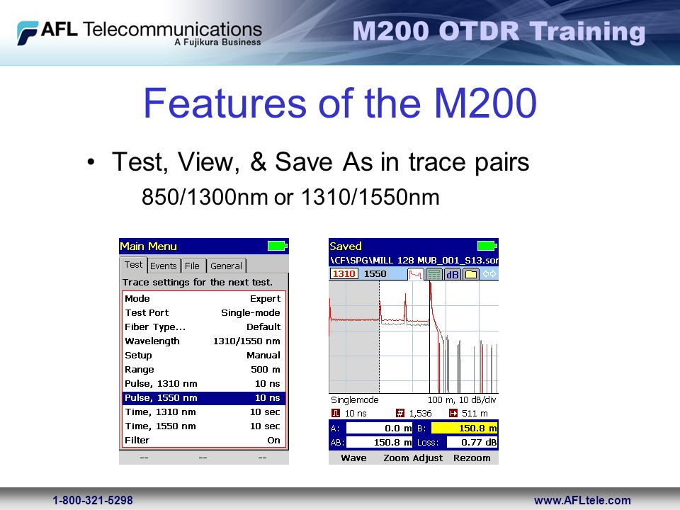 Features of the M200 Test, View, & Save As in trace pairs