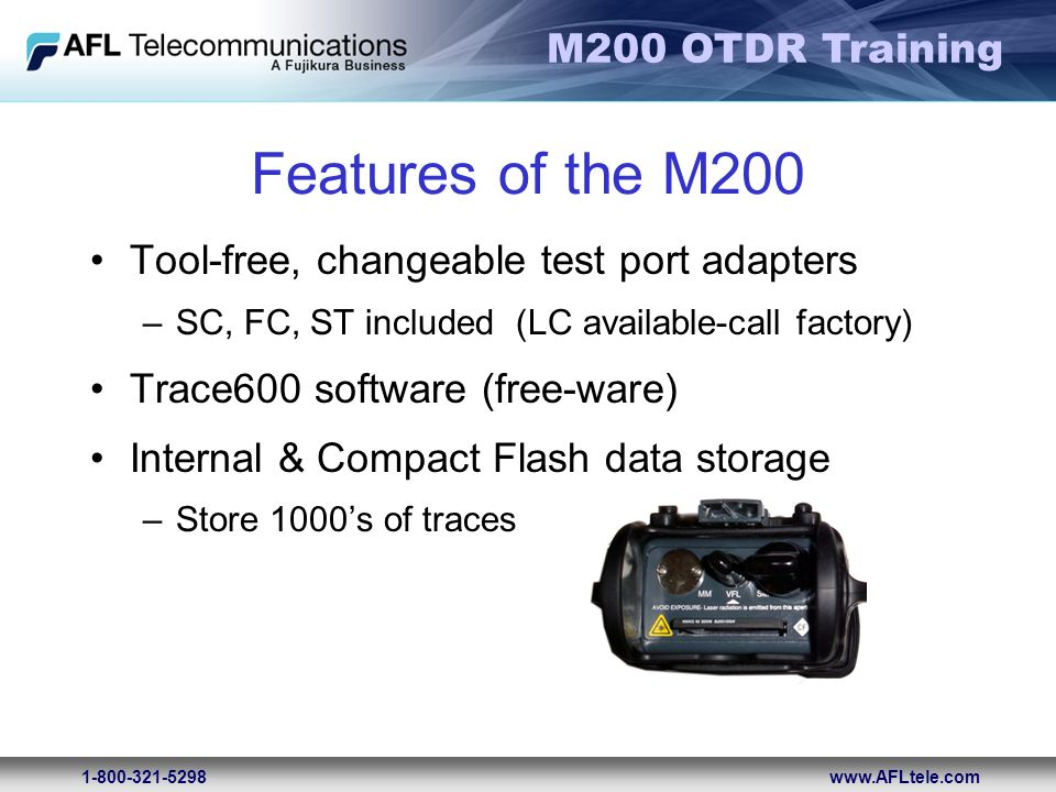 Features of the M200 Tool-free, changeable test port adapters