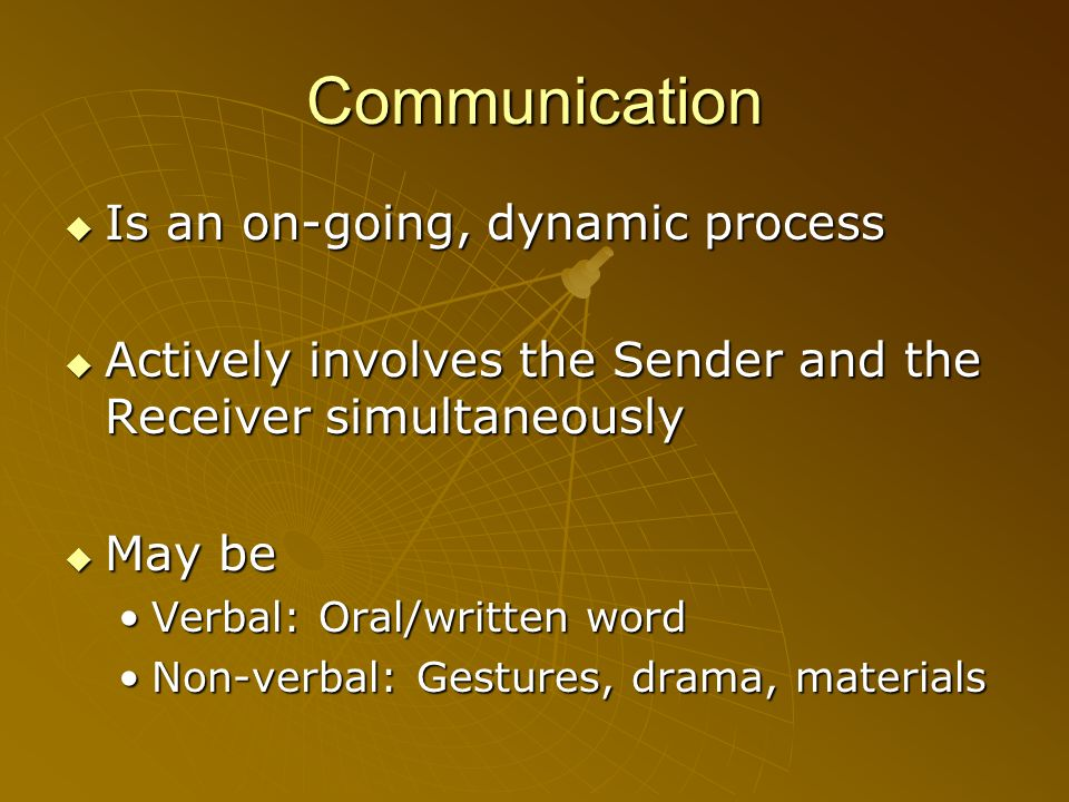 Communication Is an on-going, dynamic process