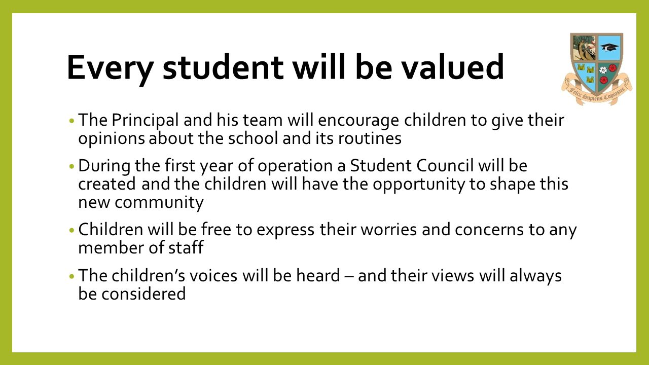 Every student will be valued