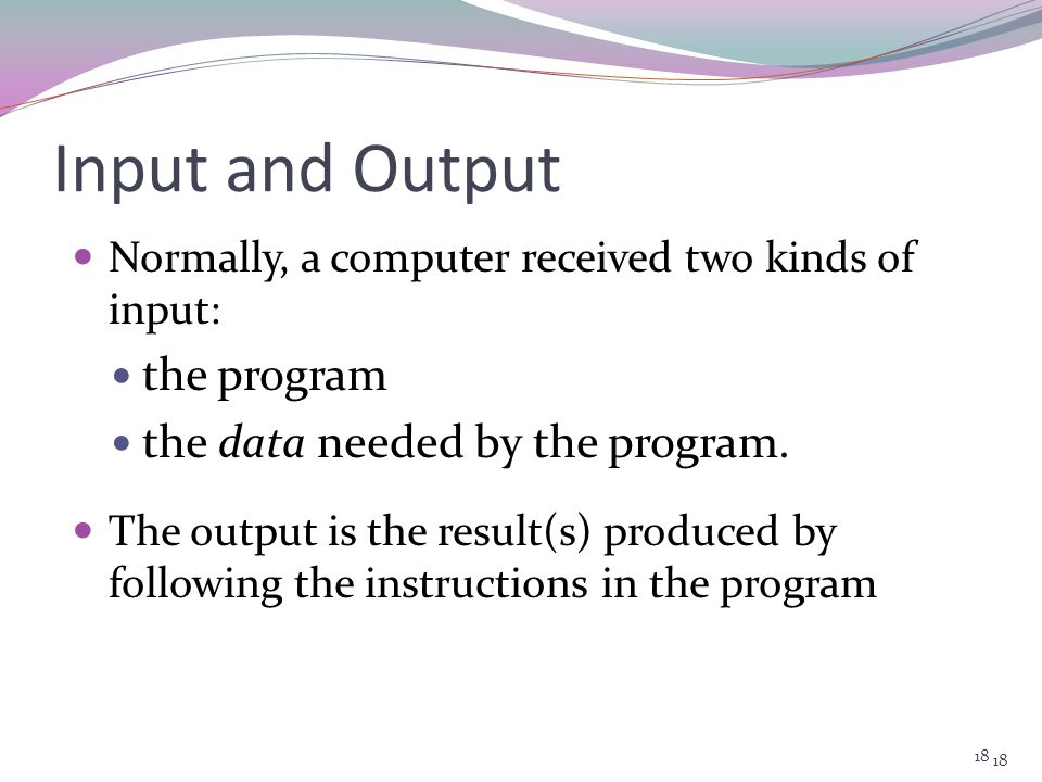 Input and Output the program the data needed by the program.