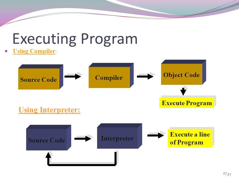 Executing Program Using Interpreter: Object Code Compiler Source Code