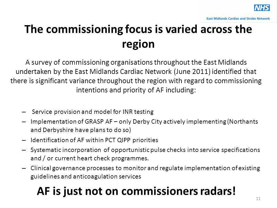 The commissioning focus is varied across the region