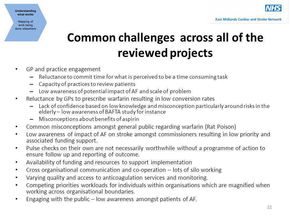 Common challenges across all of the reviewed projects